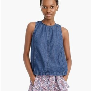 J. Crew Denim Chambray Cotton Blue Scoop Neck tank